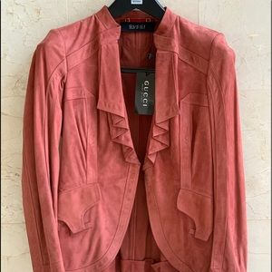 NWT Authentic GUCCI Suede Leather Jacket, Size 42